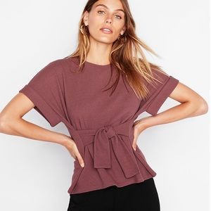 Express waist tie tee with rolled sleeves